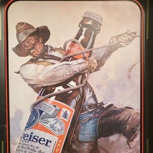 Vintage Metal Budweiser Beer Cowboy Serving tray